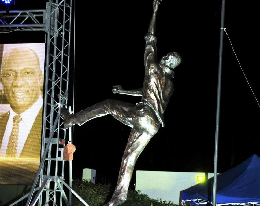 Bronze Statue Of Sir Wes Hall At Kensington Oval